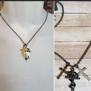 Rugged Triple Cross Necklace